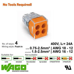 Wago 773-104 Push Wire Connector - 4 Way from Wago for $0.75