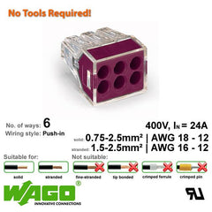 Wago 773-106 Push Wire Connector - 6 Way from Wago for $0.87