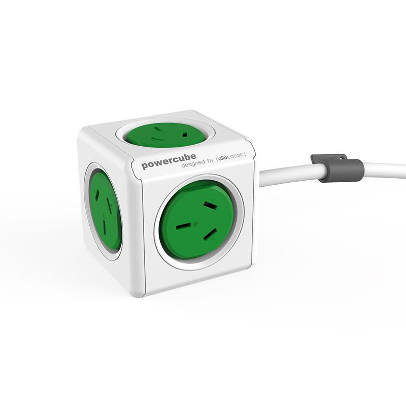 allocacoc PowerCube 5 x Socket -1.5M SAA Cable - Green