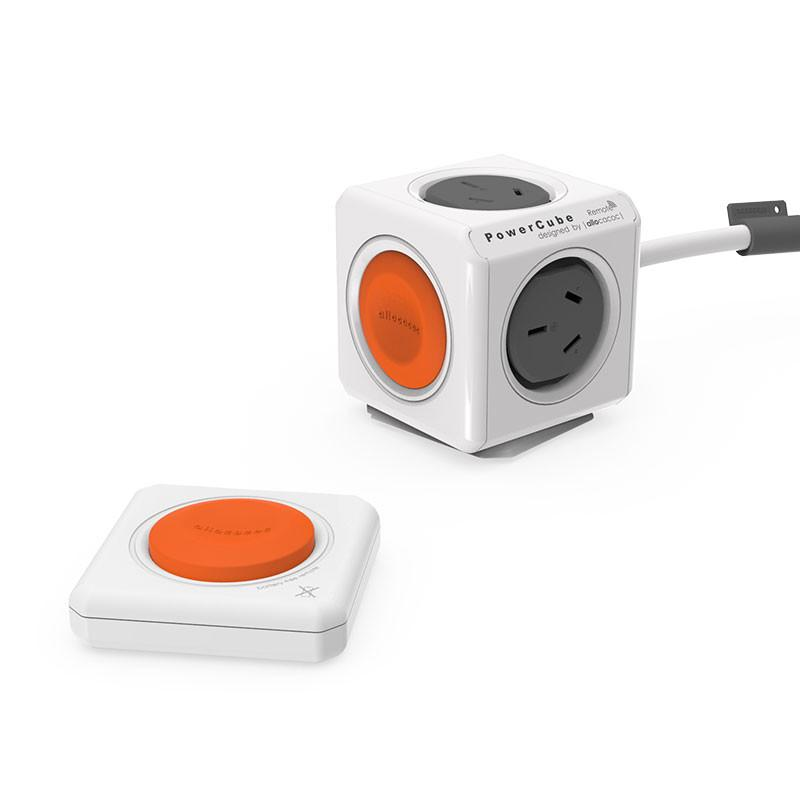 allocacoc PowerCube 4 x Socket - Kinetic Remote - No Battery Required - 1.5M SAA Cable - White