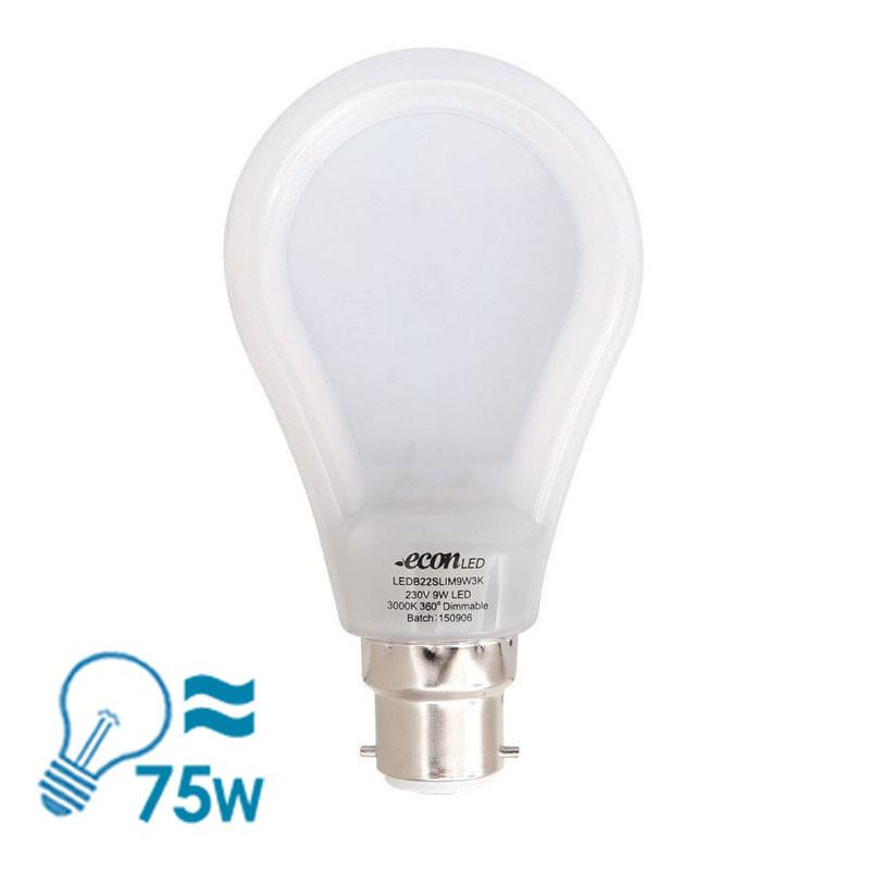 econLED B22 Bulb, 9W - Dimmable - Slim from Eurotech Lighting for $19.99