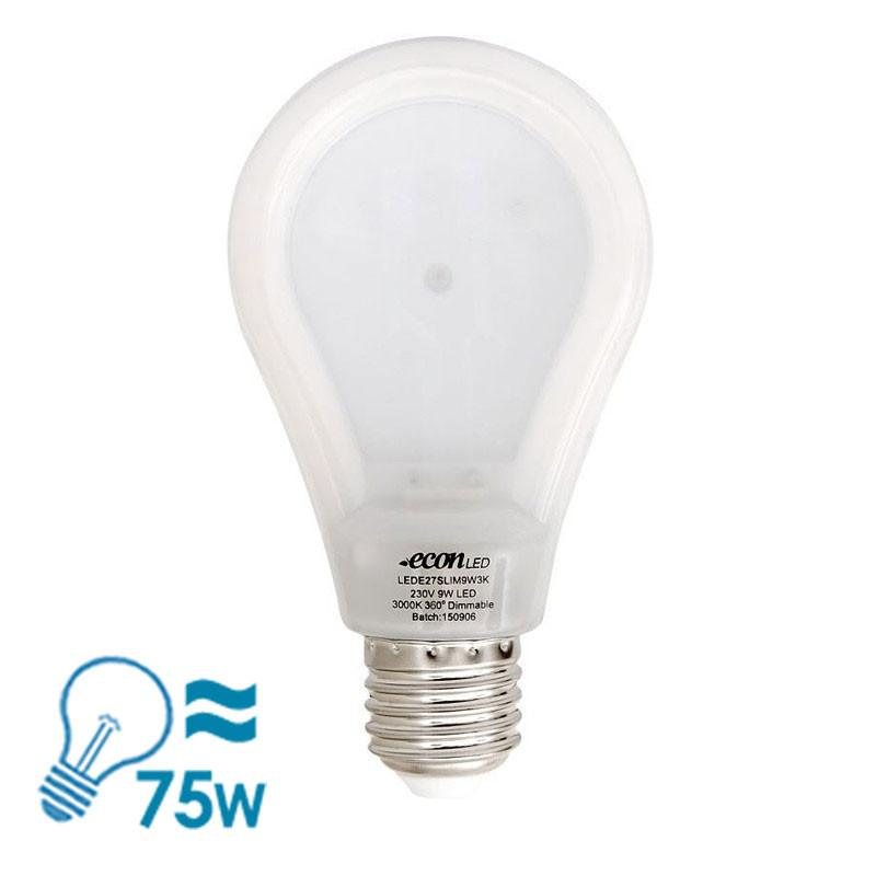 econLED E27 Bulb, 9W - Dimmable - Slim