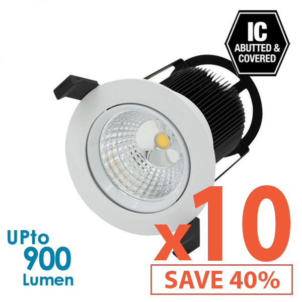 Limited Bundle! LEDFocus 10W LED Downlight - Dimmable - Tiltable - 10x Pack!
