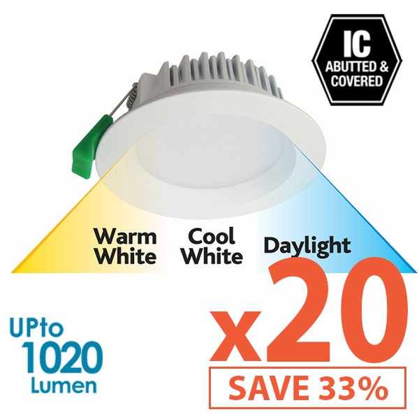 Limited Bundle! GEO LED 12W Downlight - White Trim - Colour Adjustable - Dimmable - 20x Pack! from Eurotech Lighting for $1556.99