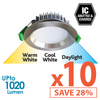 Limited Bundle! GEO LED 12W Downlight - Brushed Chrome Trim - Colour Adjustable - Dimmable - 10x Pack! from Eurotech Lighting for $859.99
