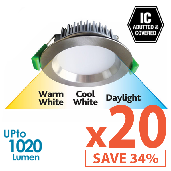 Limited Bundle! GEO LED 12W Downlight - Brushed Chrome Trim - Colour Adjustable - Dimmable - 20x Pack! from Eurotech Lighting for $1575.99