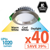Limited Bundle! GEO LED 12W Downlight - Brushed Chrome Trim - Colour Adjustable - Dimmable - 40x Pack! from Eurotech Lighting for $2908.99