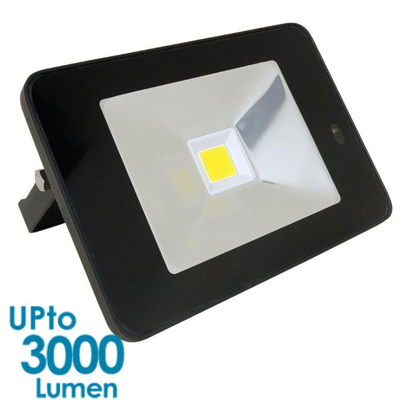 econLED 30W LED Flood Light - 230V AC - With Sensor - Black Body from Eurotech Lighting for $98.99