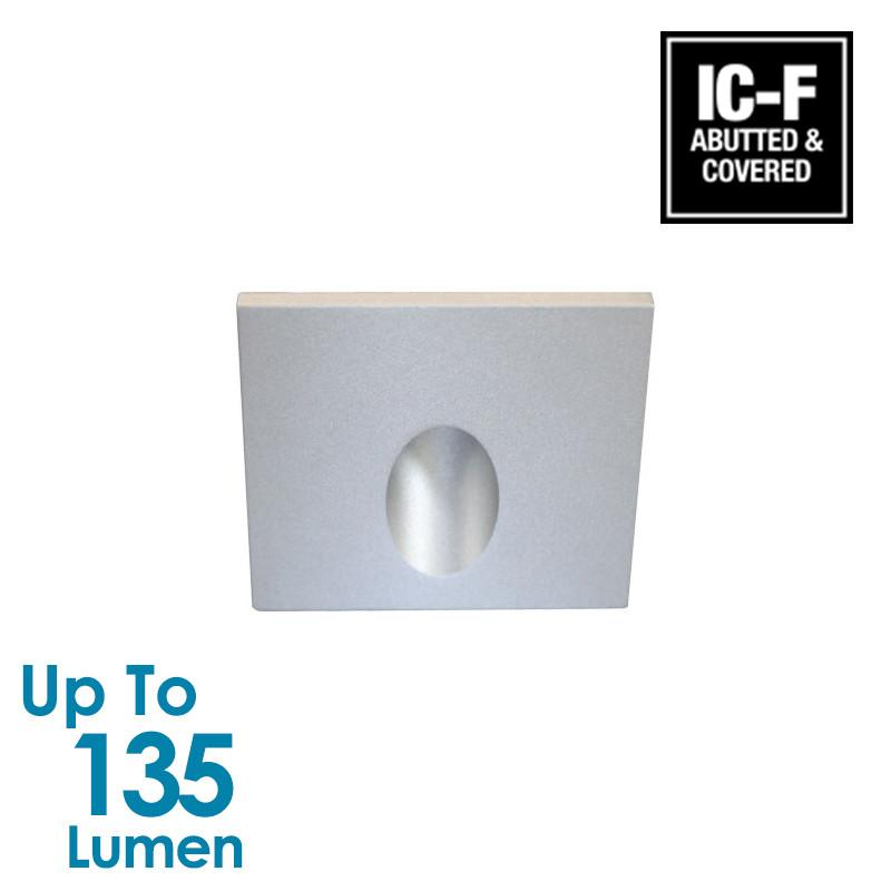 3W LED Stair or Recessed Wall Light - Silver - Square