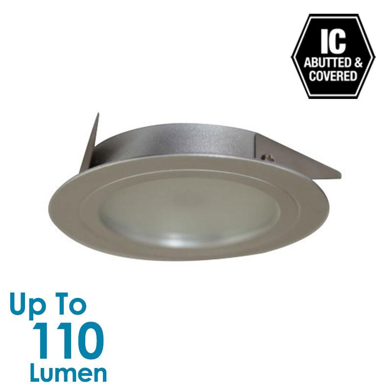 2W LED Low Profile Cabinet Light - Silver - Round - Warm White