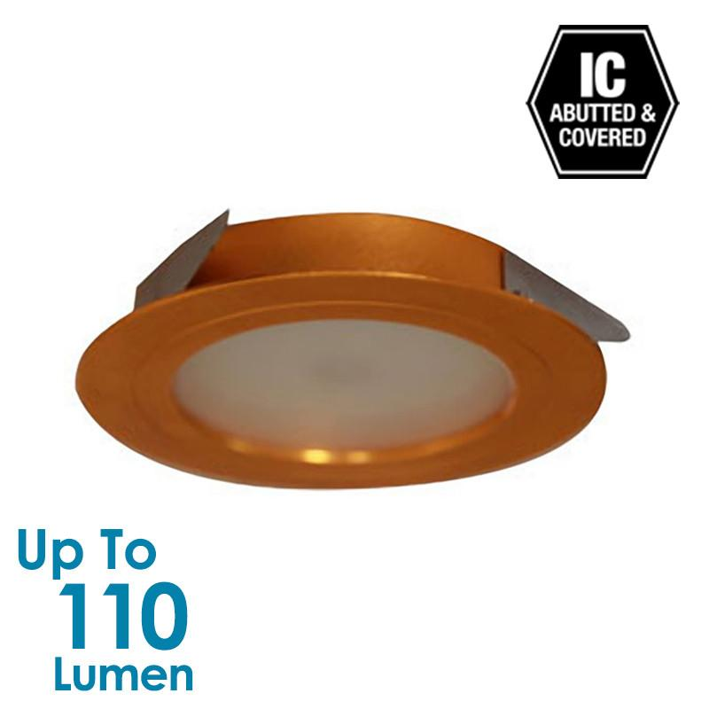 2W LED Low Profile Cabinet Light  - Gold - Round - Natural White