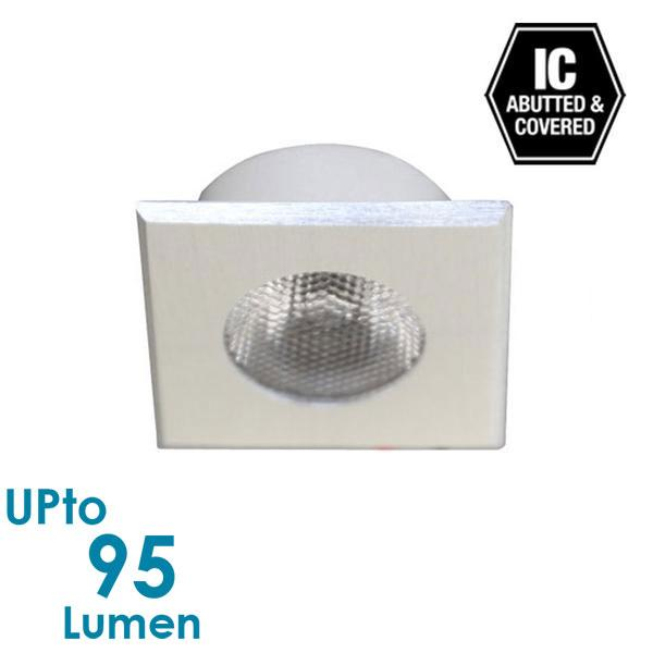 1.2W LED Mini Cabinet Light - Brushed Aluminium - Square