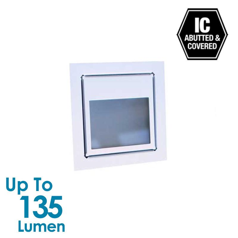 3W LED Stair Light with Frosted Glass - Silver Anodized - Square