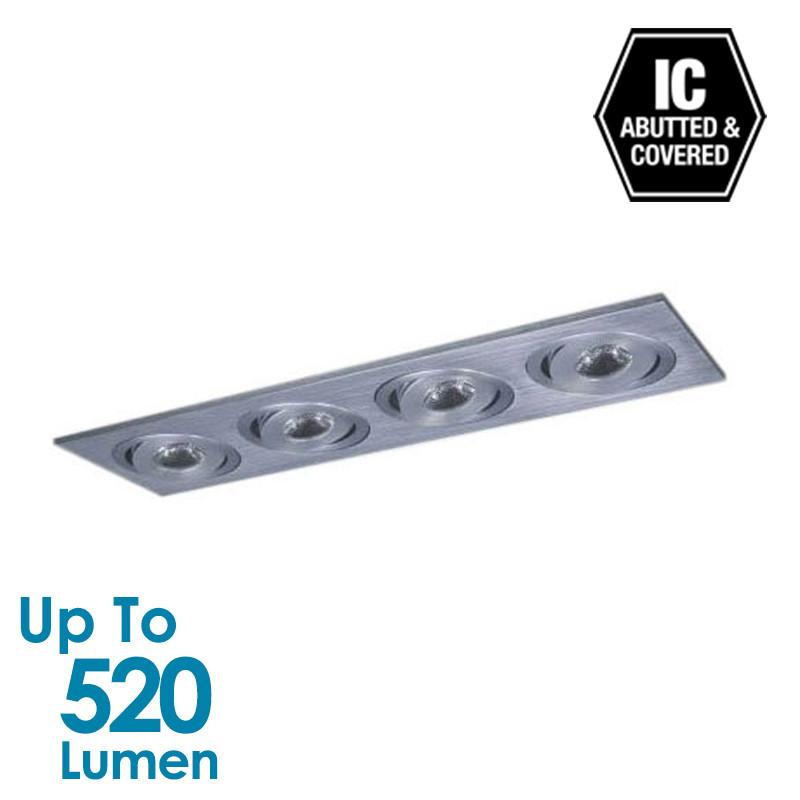 4x3W LED Cabinet Light  - Brushed Aluminium - Square
