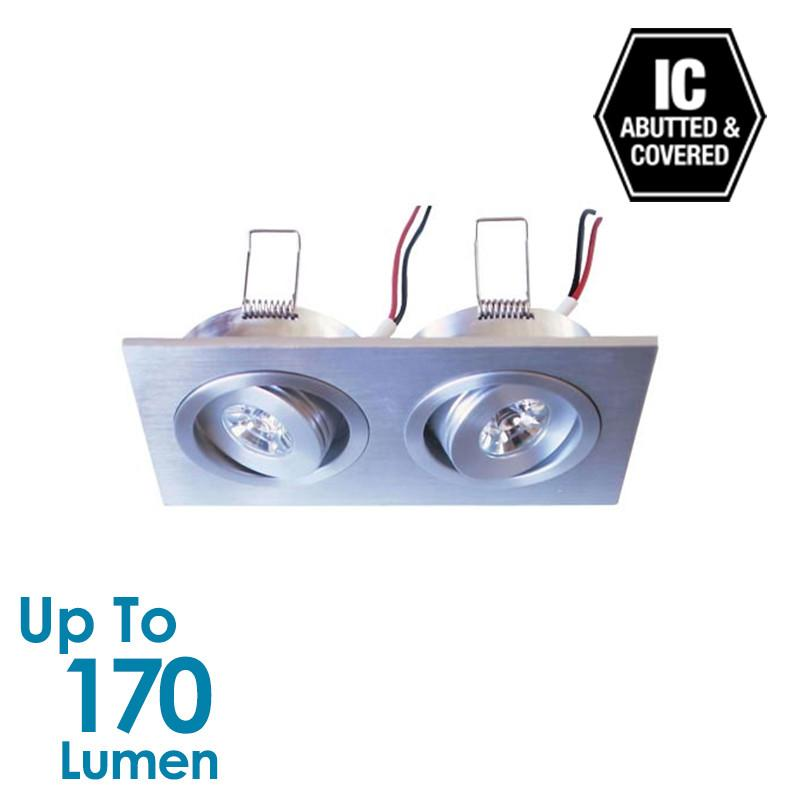 2x1.2W LED Cabinet Light - Brushed Aluminium - Square - Natural White
