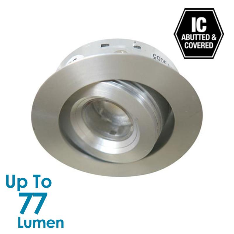 1.2W LED Tilt Cabinet Light  - Brushed Aluminium - Round - Warm White