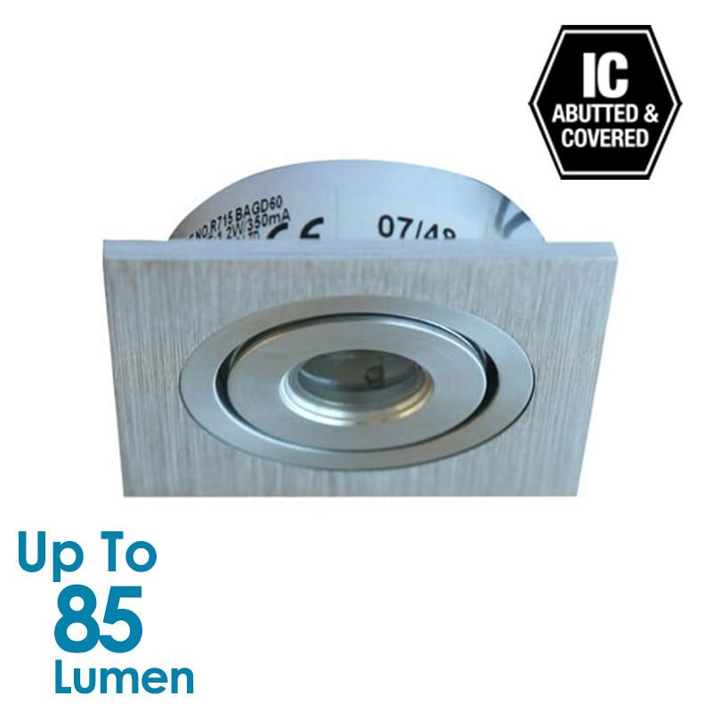 1.2W LED Cabinet Light  - Brushed Aluminium - Square - Warm White