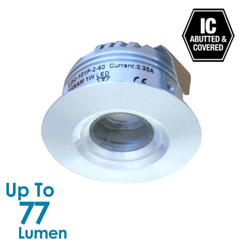 1.2W LED Cabinet Light - Brushed Aluminium - Round - Warm White