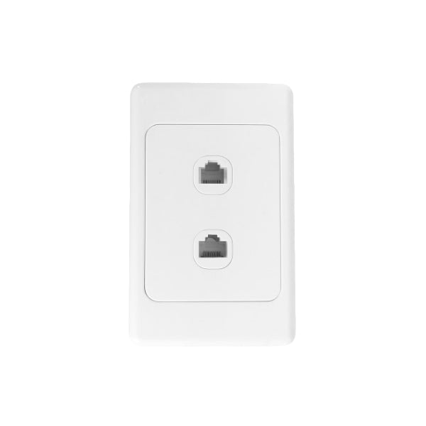 Classic Data(RJ45) & Telephone (RJ11) Dual Outlet - White from Generic Brand for $8.99