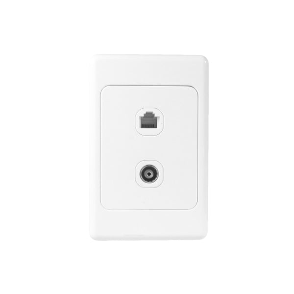 Classic TV(C-Type) & Telephone (RJ11) Dual Outlet - White