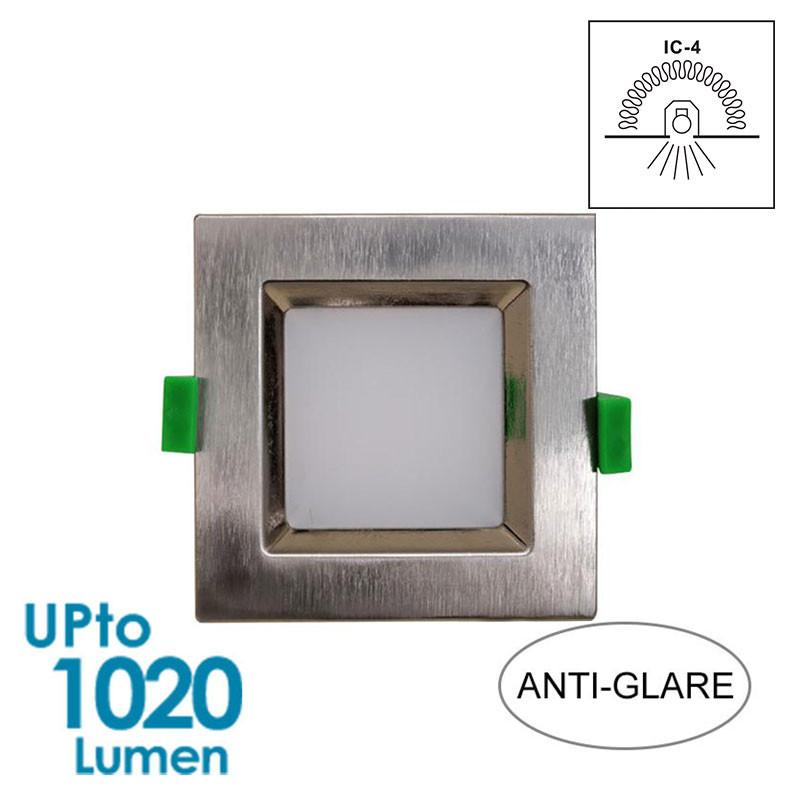 GEO LED 12W Downlight - Brushed Chrome - Square - Warm White - IP44 - Dimmable from Eurotech Lighting for $60.99