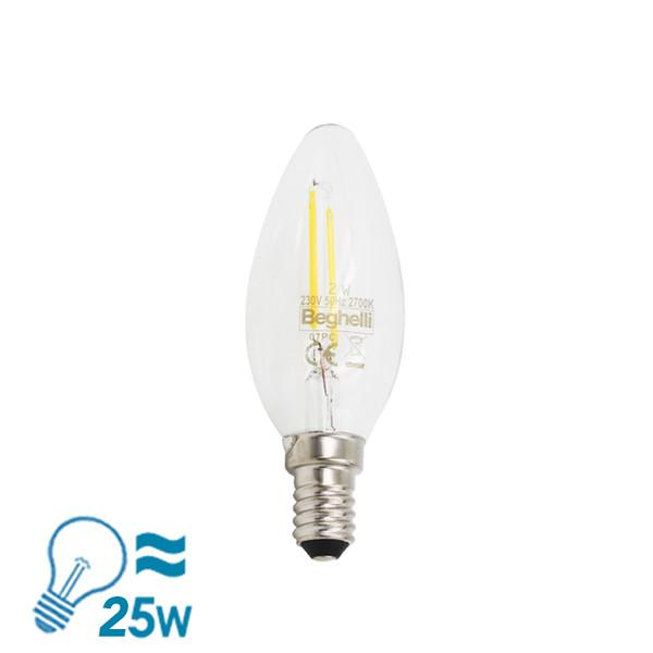Beghelli Filament ZafiroLED Candle Oliva Series E14 Bulb, 2W