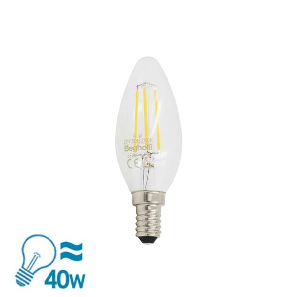 Beghelli Filament ZafiroLED Candle Oliva Series E14 Bulb, 4W from Beghelli for $23.99