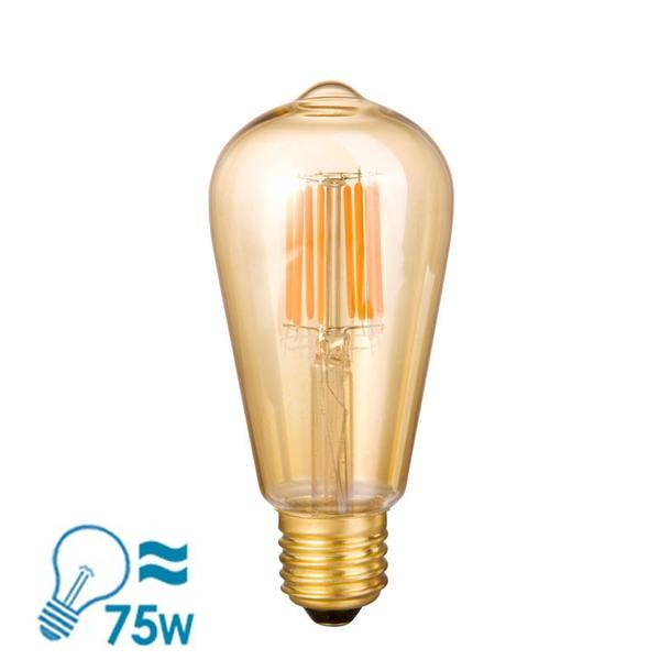 e-photon Filament LED ST64 Gild E27 Bulb, 6W Dimmable