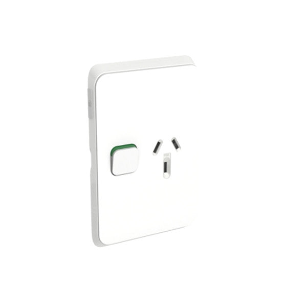 PDL Iconic 1 Vertical Switched Socket -AC - 10A - Vivid White from PDL for $14.99