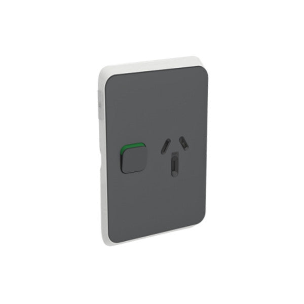 PDL Iconic 1 Vertical Switched Socket -AC - 10A - Anthracite from PDL for $13.99