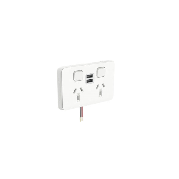 PDL Iconic 2 Horizontal Switched Socket -AC - 10A - Vivid White - Dual USB Charging Port from PDL for $95.99