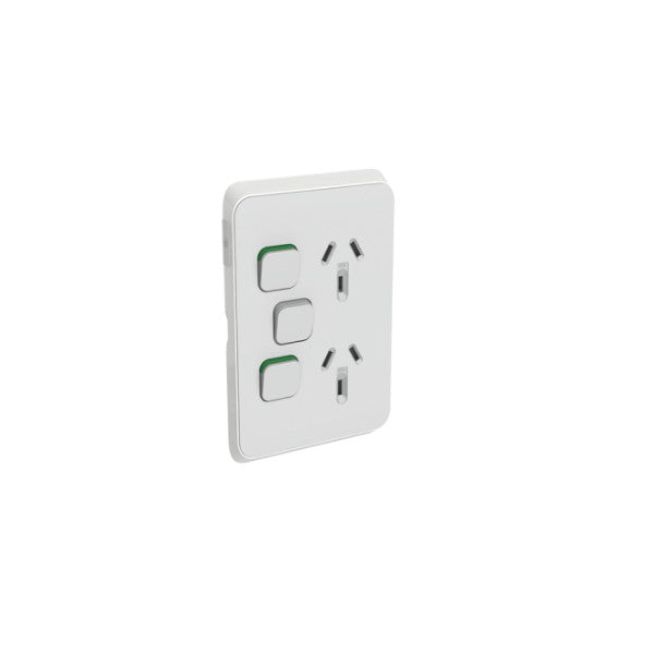 PDL Iconic 2 Vertical Switched Socket -AC - 10A - Cool Grey - Extra Switch from PDL for $27.99