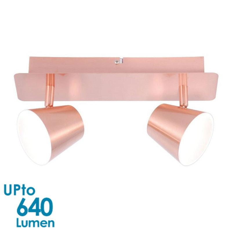 LED 2x 6W Interior Wallmount Spot Light - Copper Finish - Twin - Invisible Light Source from Eurotech Lighting for $73.99