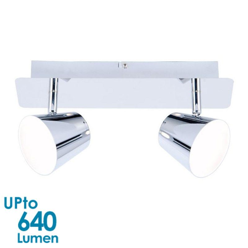 LED 2x 6W Interior Wallmount Spot Light - Chrome Finish - Twin - Invisible Light Source from Eurotech Lighting for $91.99
