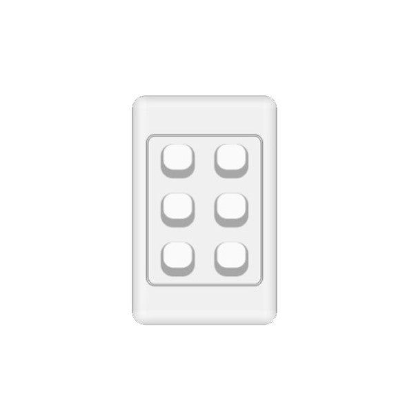 Classic 6 Gang Switch - White - AC - 10A