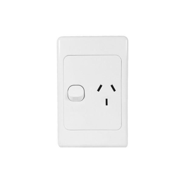 Classic 1 Vertical Switched Socket - White - AC - 10A
