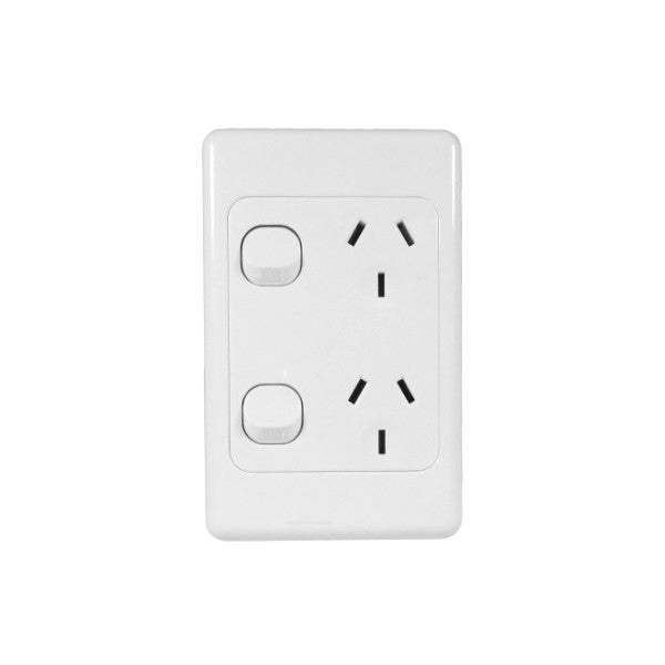 Classic 2 Vertical Switched Socket - White - AC - 10A