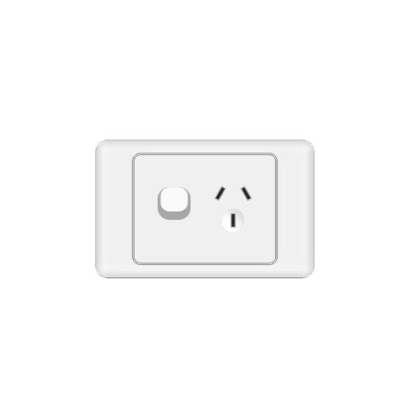 Classic 1 Horizontal Switched Socket - White - AC - 10A