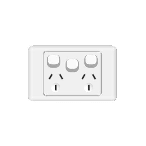 Classic 2 Horizontal Switched Socket - White - AC - 10A - Extra Switch from Generic Brand for $10.99