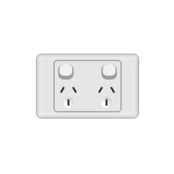 Classic 2 Horizontal Switched Socket - White - AC - 10A