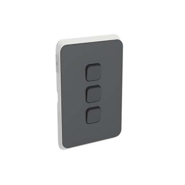 PDL Iconic 3 Gang Switch -AC - 16A - Anthracite from PDL for $28.99