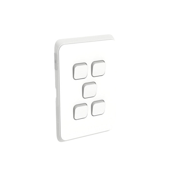 PDL Iconic 5 Gang Switch -AC - 16A - Vivid White from PDL for $42.99