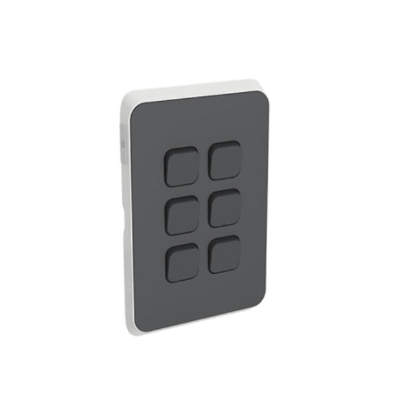 PDL Iconic 6 Gang Switch -AC - 16A - Anthracite from PDL for $49.99
