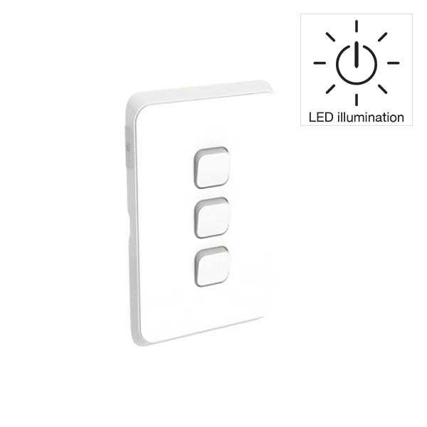 PDL Iconic 3 Gang Switch -AC - 16A - LED illumination - Vivid White from PDL for $38.99