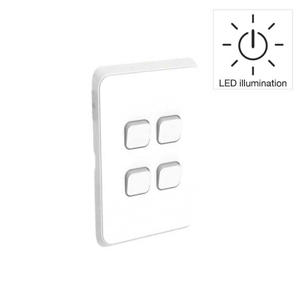 PDL Iconic 4 Gang Switch -AC - 16A - LED illumination - Vivid White from PDL for $43.99