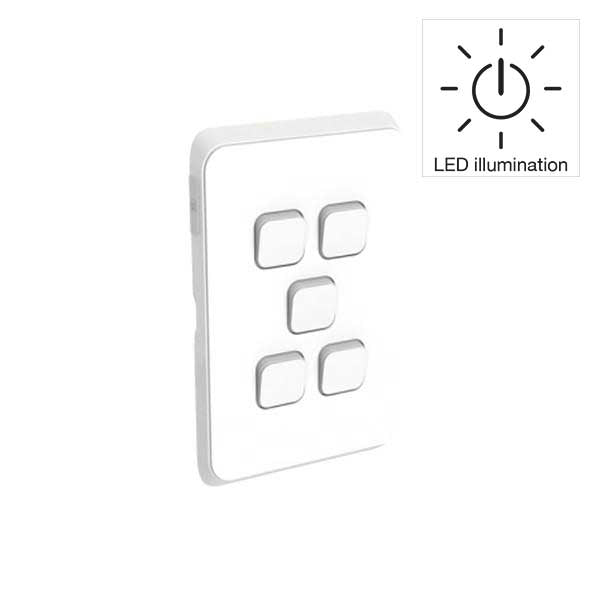 PDL Iconic 5 Gang Switch -AC - 16A - LED illumination - Vivid White from PDL for $58.99