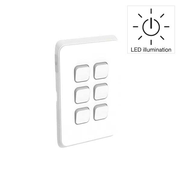 PDL Iconic 6 Gang Switch -AC - 16A - LED illumination - Vivid White from PDL for $69.99