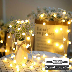 LED Bubble Light - 50LEDs/5m - Waterproof - Extendable up to 40m - Warm White Steady from Light.co.nz for $13.99