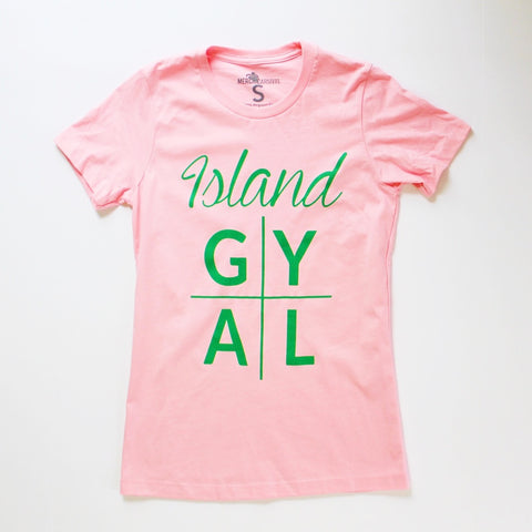 Island Gyal TShirt Pink and Green
