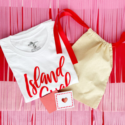 Valentine Edition - Island Gyal Tshirt and Hat Gift Set - Red and Pink